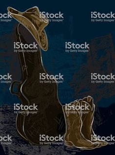 Vector drawing of an upright guitar case with cowboy hat resting atop. Guitar Case, Free Vector Art, Identity Design, Magazine Design, Image Now, Graphic Design Inspiration, Design Elements, Cowboy Hats, Royalty