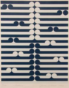 'Arahura' blue and white wave type pattern, silkscreen print by Gordon Walters, NZ. 1982.