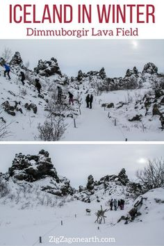 Dimmuborgir Lava Field in Winter Iceland -- Iceland Travel Tips | Iceland things to do | Iceland Itinerary | Iceland Scenery | Iceland Trip | Iceland Landscapes | Iceland Photography | things to do in Iceland | Iceland in Winter #iceland Iceland Destinations, Iceland Travel Tips, Europe Travel Tips, Champs, Formations Rocheuses, North Iceland, Iceland Landscape, Iceland Road Trip, Reisen In Europa