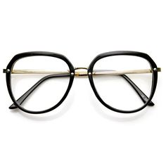This vintage inspired wayfarer frame exudes retro fashion with a stylish blend of plastic and metal and features a clear lens.