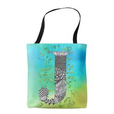 Monogram J Tote - floral style flower flowers stylish diy personalize