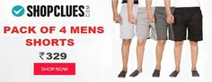 Pack Of 4 Mens Shorts at Shopclues Online Coupons, Packing, Shorts, Men, Style, Fashion, Bag Packaging, Moda, Stylus