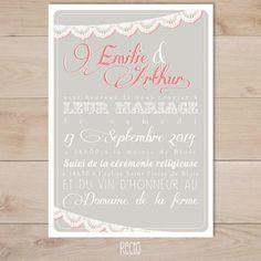 faire part de mariage gris et rose et guirlande de dentelle | Sweet Paper - Création de faire part sur mesure et boutique en ligne - Faire p...