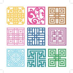 Illustration about Plaid Symbol sets. Korean traditional Pattern is a Pattern Design. Illustration of decor, antique, design - 39328502 Geometric Patterns, Print Patterns, Chinese Patterns, Indian Patterns, Motif Design, Design Elements, Celtic Knot Tutorial, Asian Quilts, Stencil