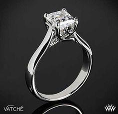 Four Prong Twisting Head Diamond Solitaire | Princess Cut Engagement Rings - bridesandrings.com