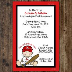 St Louis Cardinals Baseball / Baby Shower / 1st Birthday Party / printable digital file  /  UPRINT / any team colors. $15.00, via Etsy.