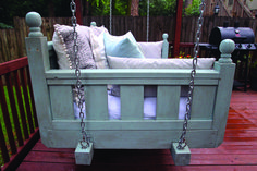 The collection of layouts as well as the form of the front patio swing suggested for you are many forms and also shades that you can pick to put on your front porch, as an example in this picture. Porch Swing Frame, Patio Swing, Porch Swings For Sale, Old Baby Cribs, Old Bed Frames, Diy Porch, Bed Swings, Swing Beds, Top Trending