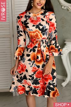 Floral Print Cutout Ruffles Flared Sleeve Casual Dress Shop- Women's Best Online Shopping - Offering Huge Discounts on Dresses, Lingerie , Jumpsuits , Swimwear, Tops and More. Trend Fashion, Estilo Fashion, Womens Fashion, Latest Fashion, Casual Dresses For Women, Clothes For Women, Dress Casual, Dress Outfits, Fashion Outfits