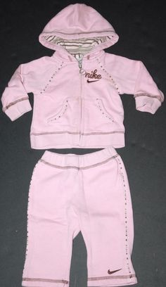 Nike Infant Girls Size 6-9 Months Pink Sweatsuit Tracksuit #Nike #Everyday #Infant #Clothing #Style #Pink #Swoosh #Cotton #Track #Comfy