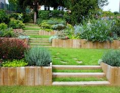 landscape steps on a slope ; landscape steps on a hill ; landscape steps on a hill sloped yard ; Backyard Hill Landscaping, Sloped Backyard, Sloped Garden, Landscaping Ideas, Garden Stairs, Terrace Garden, Hillside Garden, Landscape Steps, Landscape Design