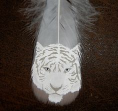 Your place to buy and sell all things handmade Tiger Painting, Feather Painting, Siberian Tiger, White Feathers, Quilt Patterns, Initials, Delicate, Buy And Sell, Spirit