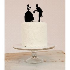 Silhouette Wedding Cake Topper - Vintage Inspired
