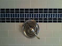 Victorian shower tile accent band with white 3x6 subway tile - Tampa, Florida ceramictec.com
