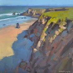 "Daily Paintworks - ""Cliff Shadows"" - Original Fine Art for Sale - © Carol Marine"