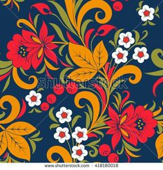 Find Khokhloma Seamless Pattern Flower Vector Illustration stock images in HD and millions of other royalty-free stock photos, illustrations and vectors in the Shutterstock collection. Thousands of new, high-quality pictures added every day. Russian Folk, Russian Art, Folk Art Flowers, Flower Art, Pattern Images, Pattern Design, Cellphone Wallpaper, Flower Patterns, Design Elements