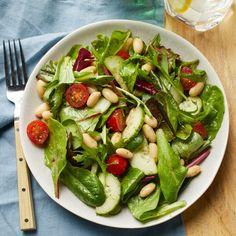 Tomato, Cucumber & White-Bean Salad with Basil Vinaigrette