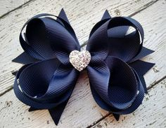 Girls Hair Bow  Navy Boutique Hair Bow with Sparkly Heart for