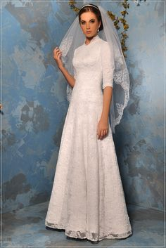Modest Wedding Dress with sleeves #tznius #kallah Couturedebride.com