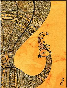 Madhubani Paintings Peacock, Madhubani Art, Indian Art Paintings, Mandala Art Lesson, Mandala Artwork, Mandala Painting, Watercolor Mandala, Peacock Art, Indian Peacock