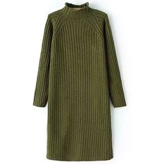Pure Color Turtle Neck Long Sleeve Sweater Dress (1.500 RUB) ❤ liked on Polyvore featuring dresses, long sleeve turtleneck, longsleeve dress, green turtleneck dress, sweater dress and green dress