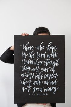 Isaiah 40:31 // Custom Canvas Hand Painted Calligraphy Quote by WrittenWordDesign on Etsy