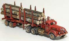 1/87 scale weathered log hauler