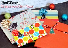 Create your own chalkboard gift tags using decorative labels and chalkboard paint!