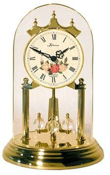 loricron floral dial chiming anniversary clock off white dial with floral motif and roman numerals cathedral chime westminster quarter hour chimes and full