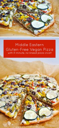 Craving gluten-free vegan pizza and want to try some new flavors? Try this Middle Eastern Pizza #Pizza #GlutenFree #Vegan