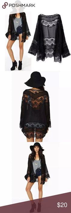 2 LEFT Sexy Black Lace Boho Cardigan Beach Kimono 🔻2 LEFT🔻ONE SIZE🔻  •BRAND NEW  •All items arrive gift wrapped.   •Simply bundle your items & save 💲  •WHILE SUPPLIES LAST  Thanks for your support 💕  TAGS ONLY NOT: Anthropologie Nasty Gal Victoria's Secret MAC H&M kate spade Kardashian Free People Juicy Smashbox Urban Outfitters follow game Kylie contour metallic matte lip kabuki blush baked palette contouring classy trending stylish fashion dainty date night summer festival midi rings…