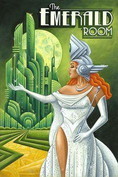 p/michael-kungl-art-emerald-room-art-deco - The world's most private search engine Art Deco Illustration, Illustrations, Retro Kunst, Retro Art, Vintage Art, Poster Art, Art Deco Posters, Art Nouveau, Art Deco Artwork