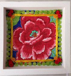 """Quadro criado por participante na oficina """"Frida, mulher de flores"""""""