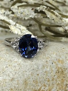 Oval Ceylon Blue Sapphire With White Sapphire Accents Engagement Wedding Anniversary Ring by InfinityJewelersUSA on Etsy Sapphire Diamond Engagement, Blue Sapphire Rings, Sapphire Stone, White Sapphire, Blue Rings, Wedding Anniversary Rings, Wedding Rings, Fashion Rings, Diamond Jewelry