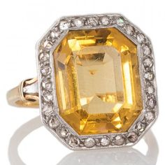 Antique French Citrine Ring. View our collection of antique, Art Deco, and modern jewellery at www.rutherford.com.au