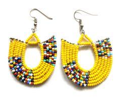 Beautiful African beaded earrings by Sipdada on Etsy