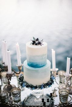 Blue tiered wedding cake // Sailing Club Styled Shoot With Hues of Powder Blue