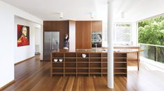 open shelves, combo of woods