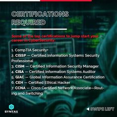 Almost every company in the world today requires CyberSecurity experts to build & protect systems to mitigate catastrophic cyber threats.😈 However, not many people are aware of the roadmap to follow to establish a career in CyberSecurity. Let us find out in this post. #cybersecurity #ethicalhacker #ethicalhackers #ethicalhacking #ethicalhackerintraining #cybersecuritytraining #cybersecuritycourse #cybersecuritytips #cybersecurityawareness #cybersecuritynews #syntaxtechnologies #syntaxtechs Cyber Security Course, Cyber Security Awareness, Cyber Security Certifications, Security Training, Cyber Threat, Marketing Jobs, Training Courses, How To Become, Management