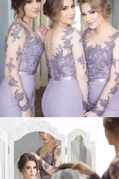 Bridesmaid Dresses, Lilac Long Bridesmaid Dresses,  #longbridesmaiddresses #longpromdresses #bridesmaiddesses2018 #lacedress