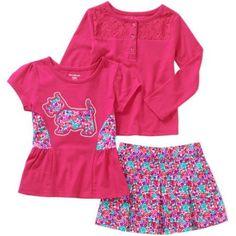 Garanimals Baby Toddler Girls' 3 Piece Long Sleeve Henley, Short Sleeve Graphic Top and Woven Skort Set, Toddler Girl's, Size: 4 Years, Pink