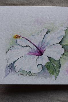"Beautiful white hibiscus! I grew up with white hibiscus everywhere. Love the beautiful white and so happy to be able to paint this flower. Enjoy! Original or Print--Please indicate when you purchase if you want an original or print. You may only order multiple cards for a print (not for an original). This is a hand-painted watercolor greeting card on 140 lbs. acid free, Strathmore watercolor paper. All the cards are designed and painted by me. Dimension of the card is 5""x 6⅞ "". Matching…"