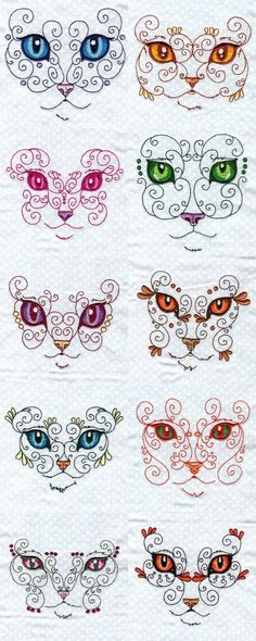 Swirly Cat Faces 2 Embroidery Machine Design Details