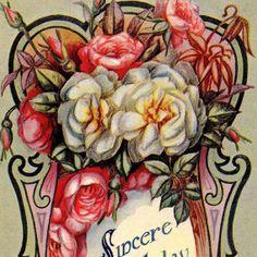 Colorful Antique Art Nouveau BIRTHDAY Greetings by VintagenutsInc, $5.50