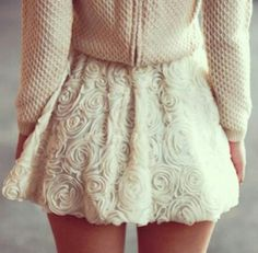 Lace, skirt, sweater, autumn, winter, fall, white, cream