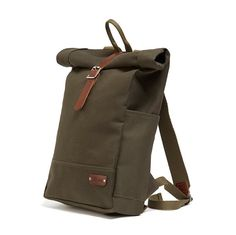 The NEW addition to the Alban Roll Top Backpack family is ideal for the sartorially savvy urban cyclist, although anyone can wear one.  This minimal designed 20 ounce canvas backpack has an easy to use, expandable roll top closure, and is constructed from a heavyweight, water repellent, British Millerain waxed twill classic green canvas with brown vegetable tanned, single piece bridle leather strap and detailing throughout, solid brass hardware and Italian webbing  The deceptively spacious…