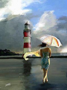 umbrella beach lighthouse art