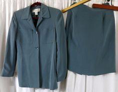 Jones New York 4 Green Silk Skirt Suit #JonesNewYork #SkirtSuit