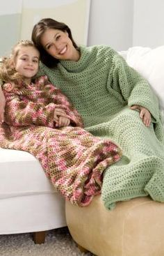 Crochet Snuggle Up Throw with Sleeves