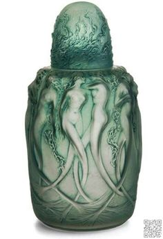 """A Lalique 'Sirenes' perfume burner, in clear and frosted glass with blue patina, molded """"R. LALIQUE"""" ca. Art Nouveau, Art Deco, Lalique Perfume Bottle, Antique Perfume Bottles, Vintage Bottles, Perfumes Vintage, Beautiful Perfume, Objet D'art, Royal Doulton"""
