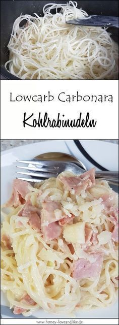 How about low carb carbonara made from kohlrabi noodles? - That& how easy it is! Fast low carb carbonara with kohlrabi noodles - Low Carb Keto, Low Carb Recipes, Healthy Recipes, High Carb Foods, No Carb Diets, Chou Rave, Carb Cycling Diet, Le Diner, Paleo Dessert